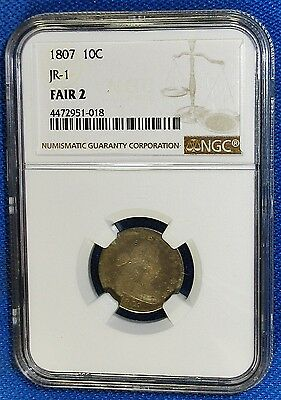NGC Certified FAIR 2 Extremely Rare 1807 Early Silver 1807 Draped Bust Type Dime