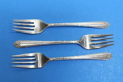 3 Wm Rogers & Son IS Exquisite Silverplate Flatware Salad Forks