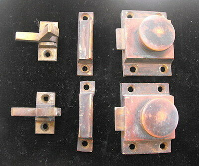 Pair of Antique Brass Cabinet Cupboard Latches & Hardware w/ Pull Knobs