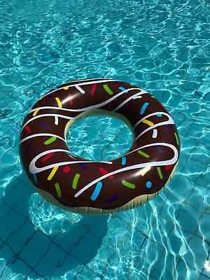 Giant Inflatable Donut Rubber Ring with Bite Pool Float Lilo Toys.UK STOCK