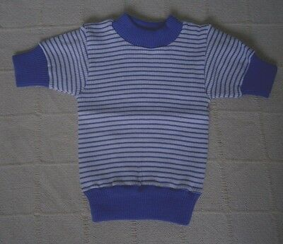 Vintage Girls Skinny Rib Top- Age 6 - Purple/White Stripe - Short-Sleeve  - New