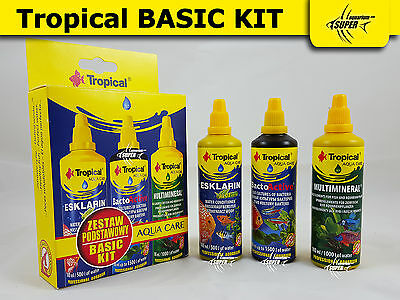 TROPICAL BASIC KIT 3x 100ml Bottle AQUARIUM TREATMENT & CONDITIONER WATER TANK