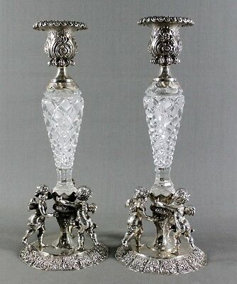 Pair Of Continental Silver And Baccarat Cut Glass Candlesticks