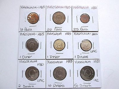 YUGOSLAVIA  (Now: SERBIA)  9 coins 1965-2002 circ-unc carded