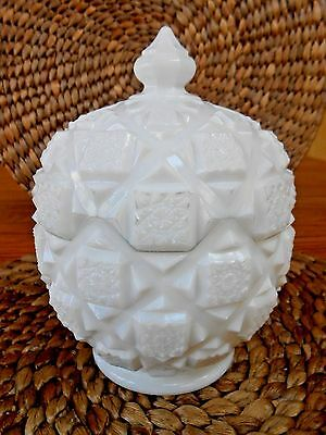 Nice, Vintage WESTMORELAND White Milk Glass, Old Quilt Pattern, Candy Dish w/Lid