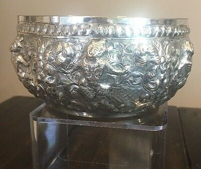 Antique Burmese Thai Thailand Solid Silver Repousse Bowl Buddhist Heavy