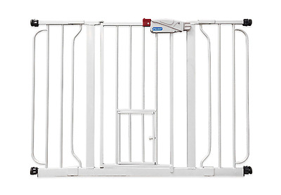 Extra-Wide Walk-Through Pet Dog Cat Door Gate White for Small and Large Pets New