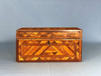 Antique Inlaid Wood Woodenware Box Trinket Jewelry Dresser Geometric Inlay