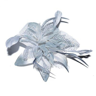 Pretty Cool Women's Grey Flower and Feather Comb Fascinator - Grey