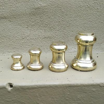 stunning APOTHECARY scientific 4 bell WEIGHTS UK British 1lb, 8, 4 & 2 oz brass