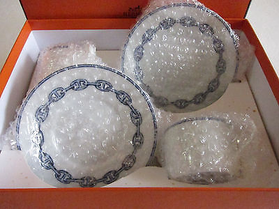 NIB Authentic HERMES 'Chain D'Ancre' 2 Set Cup and Saucer #scarf bag