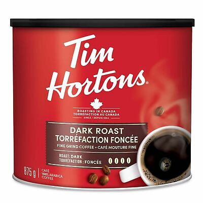 Canada Tim Hortons Dark Roast Grind Coffee 875g can ALWAYS FRESH  🇨🇦