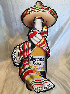 Corona Extra Beer Bottle Tin Metal Sign Wearing Sombrero Hat And Scarf NOS