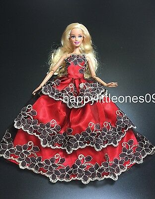 Red Barbie Doll Wedding Party Evening Dress 3-Layer Embroidered Lace Trim New