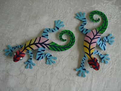 """Lot 2 Hand Painted Gecko 7"""" Long Hanging Metal Art Blue Brightly Colored Lizard"""