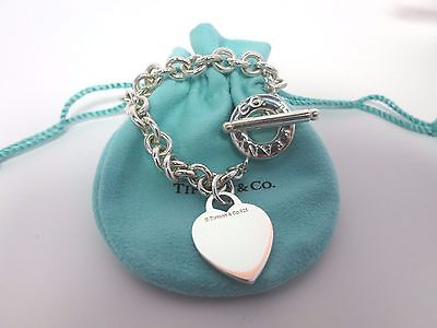 Tiffany & Co Sterling Silver Heart Toggle Link Bracelet