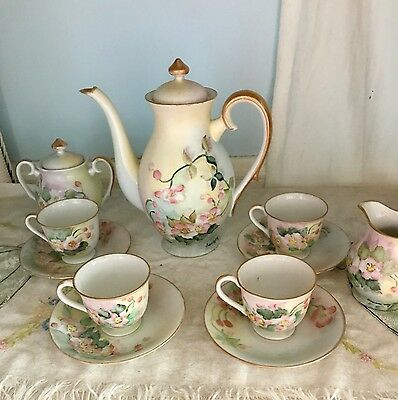 Nasco Occupied Japan Demitasse Coffee 11 piece set Yellow Floral Hand Painted
