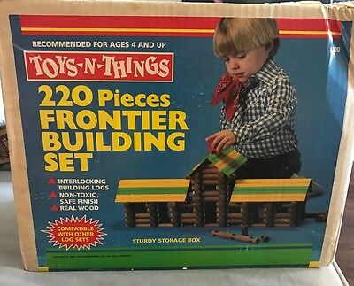 Vintage 1988 Toys-N-Things 192 Pieces Frontier Building Sets L220 Lincoln Logs