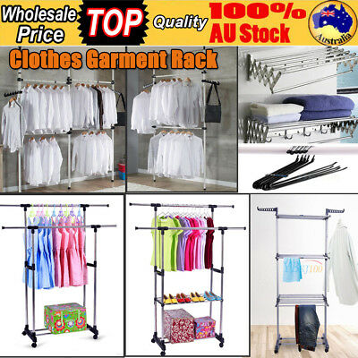 8 Models Portable Clothes Organizer Rail Hanger Rack Garment Coat Dryer Rolling