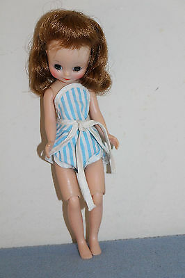 "#3 vintage 8"" Betsy McCall Doll in Blue/White Striped Romper/Sunsuit VGC"