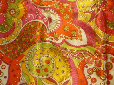 """True Vintage 60's-70's Mod Peter Max Style Psychedelic Satin Fabric 2 Yds x 44"""""""