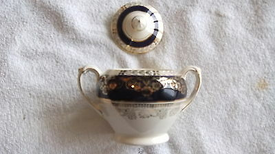 Crown Ducal 6107 Sugar Bowl With Lid Cobalt  With Gold Flowers & Leaves