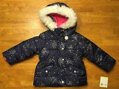 NWT Carter's Girl's Blue Faux Fur 4-in-1 Winter & Fall Jacket / Coat - Size: 2T