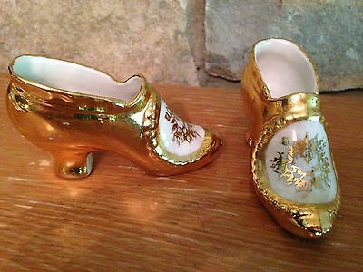 Vintage Weisley China hand-painted 3.5 inch shoes, 22 K gold on white porcelain