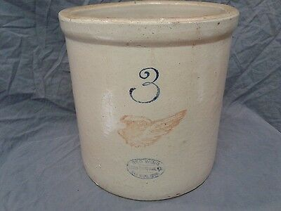 """Vintage Red Wing 3 Gallon Crock~4"""" Wing"""