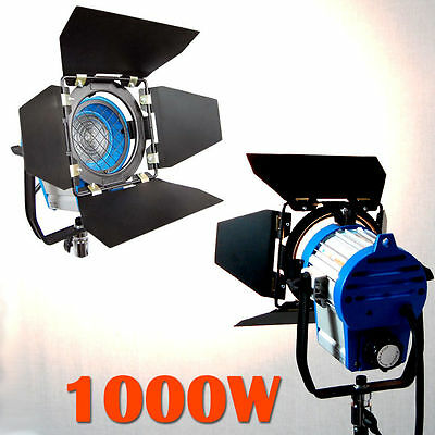 1000W Lighting Fresnel Tungsten Spot light Camera Video Studio + Bulb + Barndoor