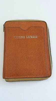 Vintage Leather Wallet Driving Licence Stamps Zipper Closure Made in Canada