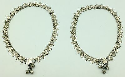"""Pair of 10.5"""" Ankle Bracelets 36g Sterling Silver Anklets Bollywood Style Payal"""