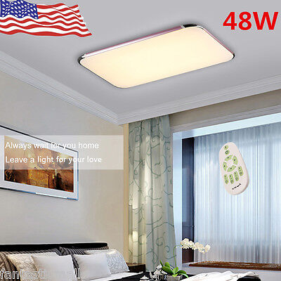 Floureon 48W LED Ceiling Light Flush Mount Kitchen Lamp Home Fixture w/Remote US