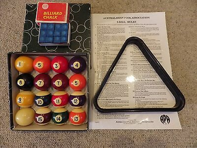"""CHEAP  Pool Balls and Triangle and Cue chalk  Set 2"""" inch standard Size"""