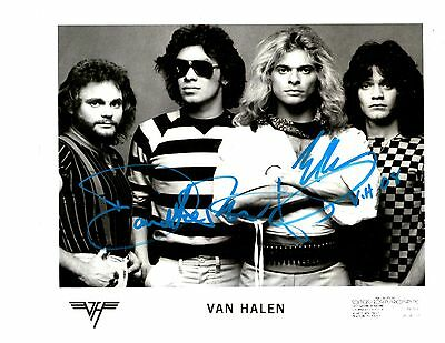 Van Halen - 8x10 Hand Signed Photo by David Lee Roth and Eddie Van Halen
