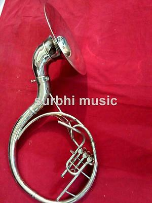 """Sousaphone 16"""" in Silver Chrome Polish With Free MouthPc & Case & Fast Shipping"""
