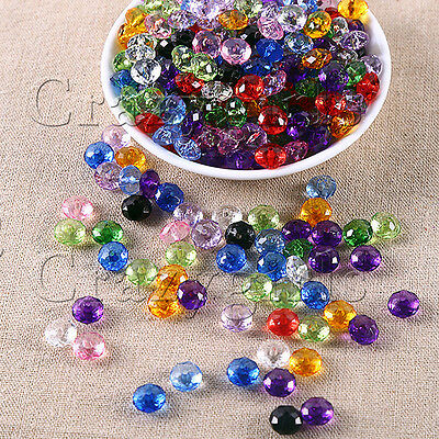 50pcs 10mm Plastic Round Acrylic Mixed Colors Faceted Spacer Beads Bracelet S