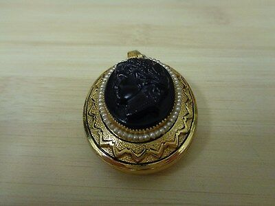 Antique Cameo Locket with black face and seed pearl beading (1920's or 30's)
