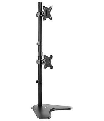 Dual LCD Monitor Desk Stand Mount Free Standing, Holds Vertical 2 Screens up...