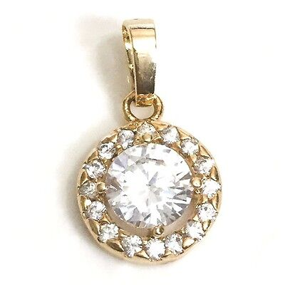 3.24 Ct Round Diamond Halo Pendant Necklace 14K Yellow Gold Plated Charm YW246