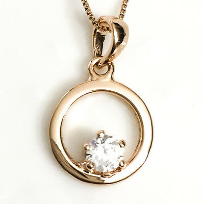 Gorgeous 1Ct Round Solitaire Diamond Pendant Necklace Gift 14K Gold Plated YW224
