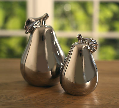 Ceramic Pears Silver Shiny Finish Set of 2 Home Decor Gift Large & Small NEW