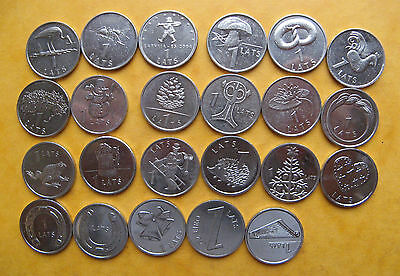 LATVIA LETTLAND SPECIAL DESIGN 1 LATS SET OF 23 COINS 2001-2013 Incl. Stork, Ant