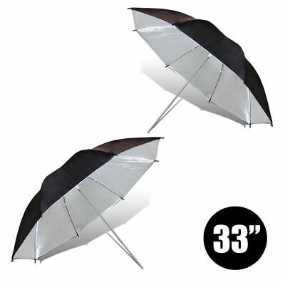 "2 x 33"" Black/Silver Reflective Photo Video Studio Umbrella For Flash Lighting"
