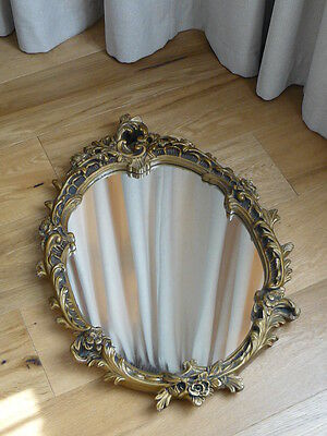 Large Antique Oval Wall Mirror Rococo Style Ornate Gilded Plaster/Gesso Frame
