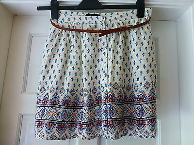 Pretty cream ,peach and blue floral short skirt  size 12 by New Look
