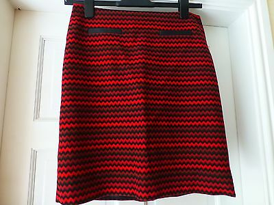 Red and black zig zag short skirt by M and S size 10