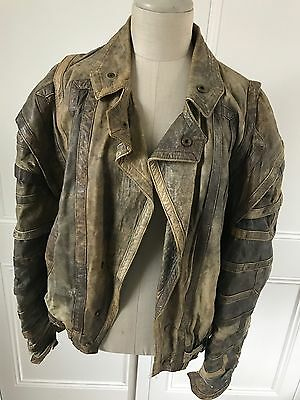 Fab Vintage 1980s Brown Mens Pellini Leather Bomber Biker Jacket - Very Mad Max!