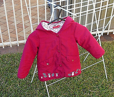Sprout Girls Size 2 Warm Padded Jacket Coat Lined Hood Dark Pink Long Sleeves