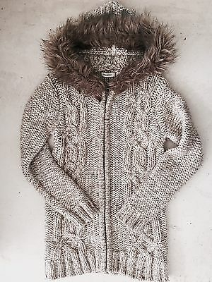 Country Road Girls Knitted Cardigan Coat With Hood Size 6